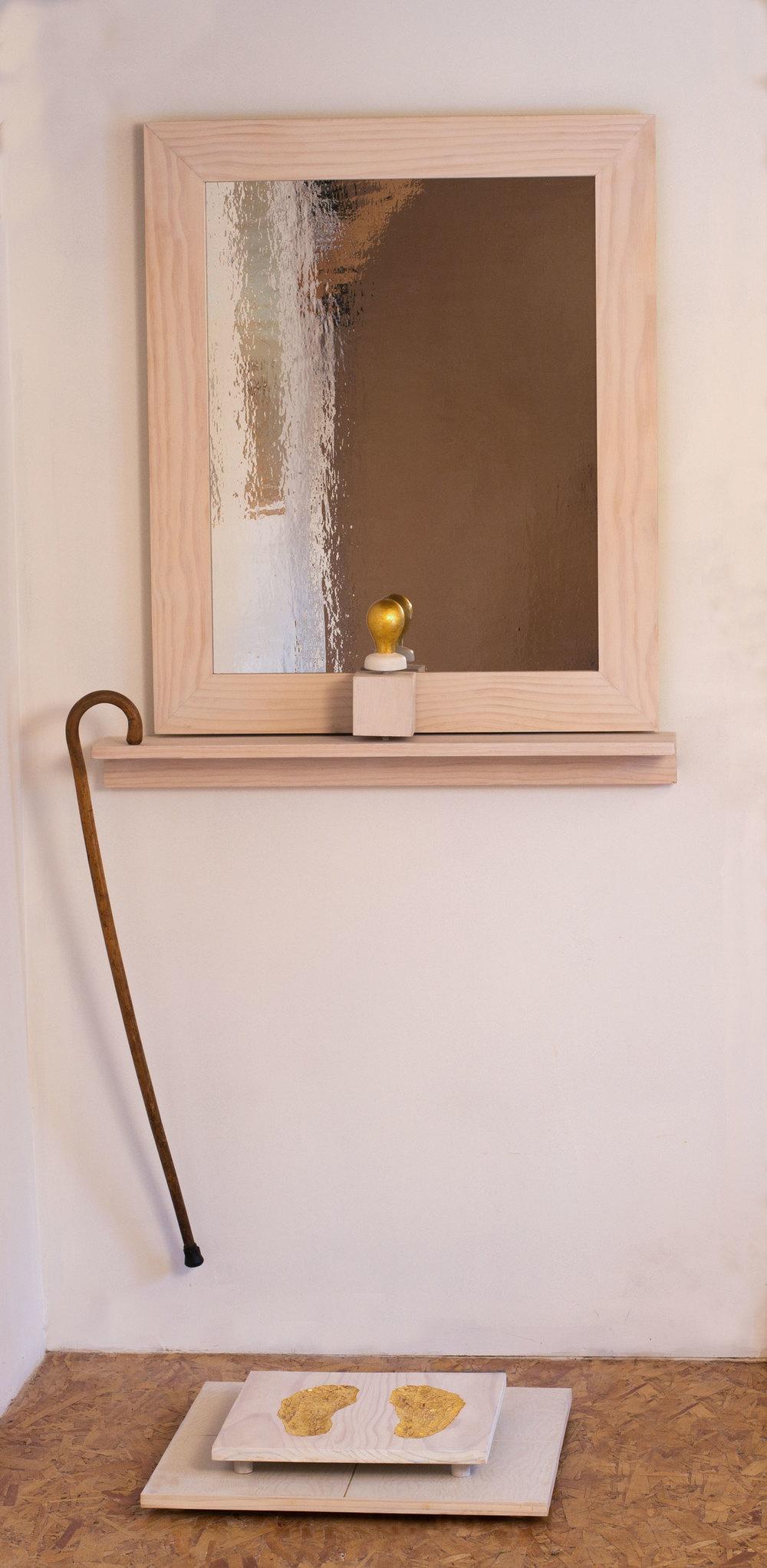 """Possible Self-Portrait"", 74"" h x 36"" w x 32"" d, wood, mylar, gold leaf, paint, found object; ©Tom Gormally 2015"