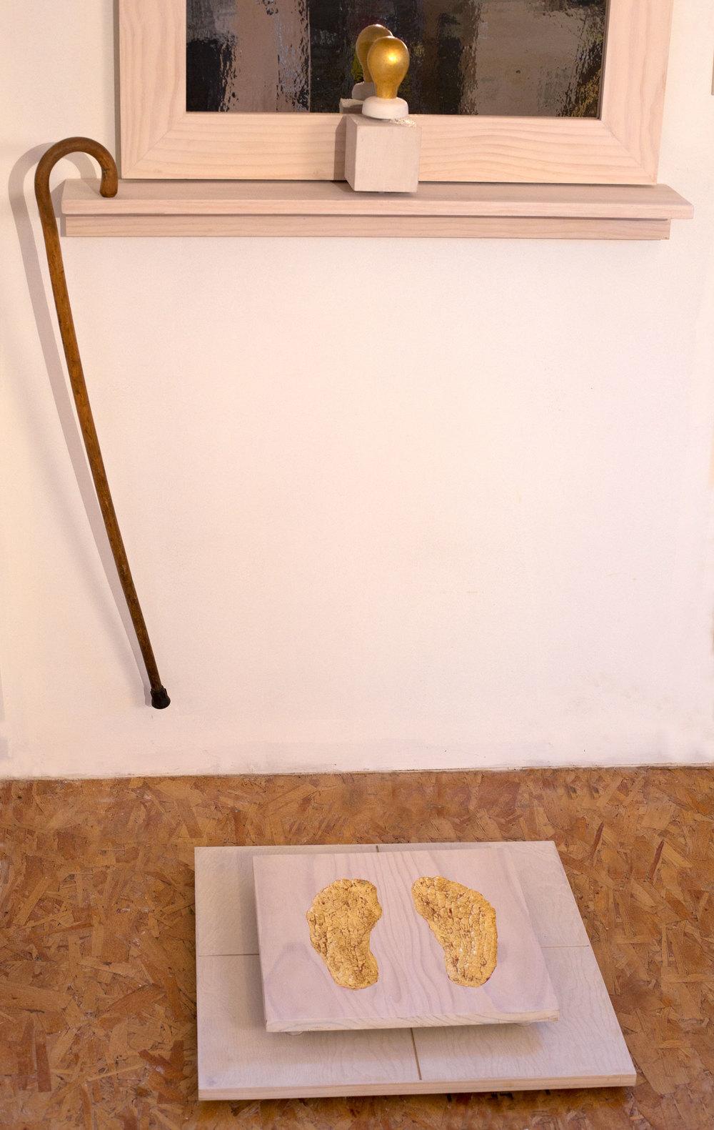 """Possible Self-Portrait"" (detail), 74"" h x 36"" w x 32"" d, wood, mylar, gold leaf, paint, found object; ©Tom Gormally 2015"