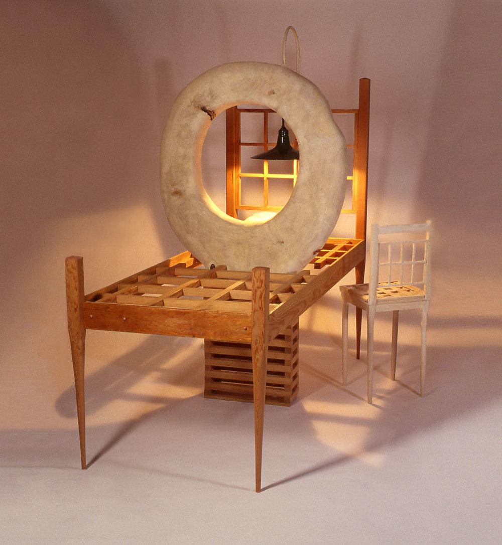 """Witness"", wood sculpture 7' h x 6' w x 8' d ; Cedar, Poplar, Oak, electric light. Photo: Arthur Aubrey"