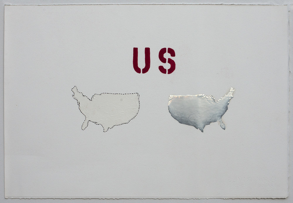 """US REVERSO"", 2017, Mylar, plastic, graphite, flocking, Sumi ink on paper, 15"" x 22"" © Tom Gormally"
