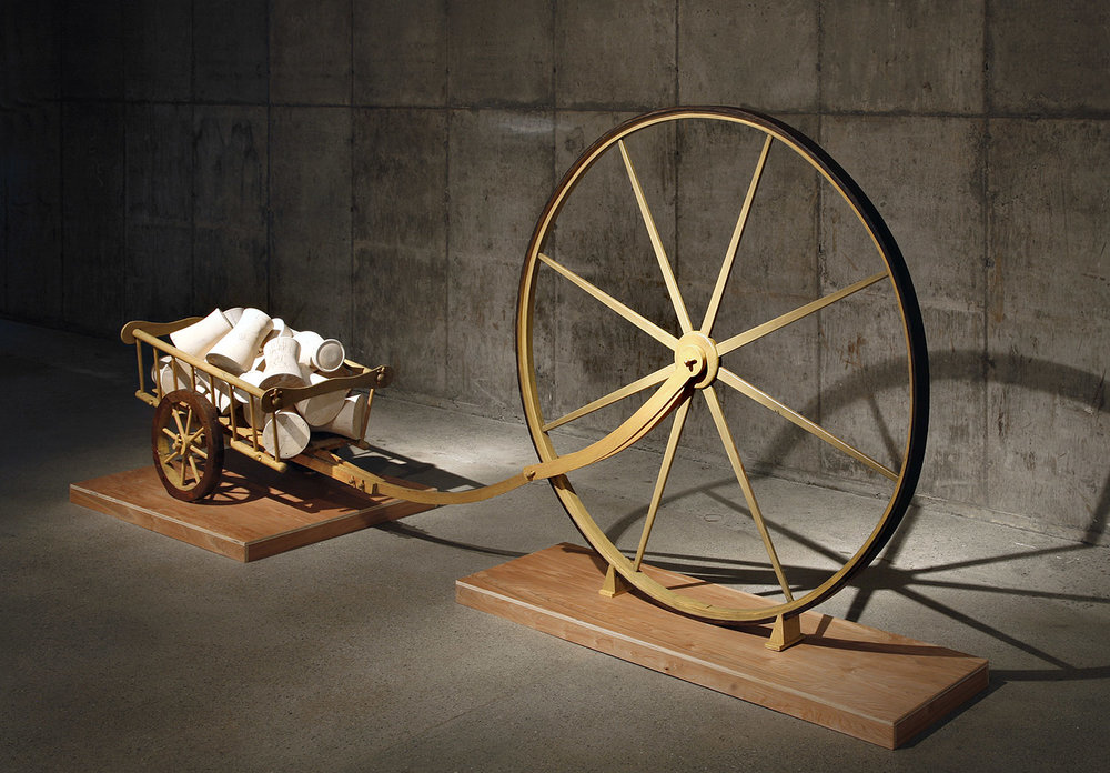 """""""Load"""", wood sculpture 5' h x 12' w x 2' d ; ebonized and stained Oak and Pine, Alaskan Yellow Cedar, © Tom Gormally"""