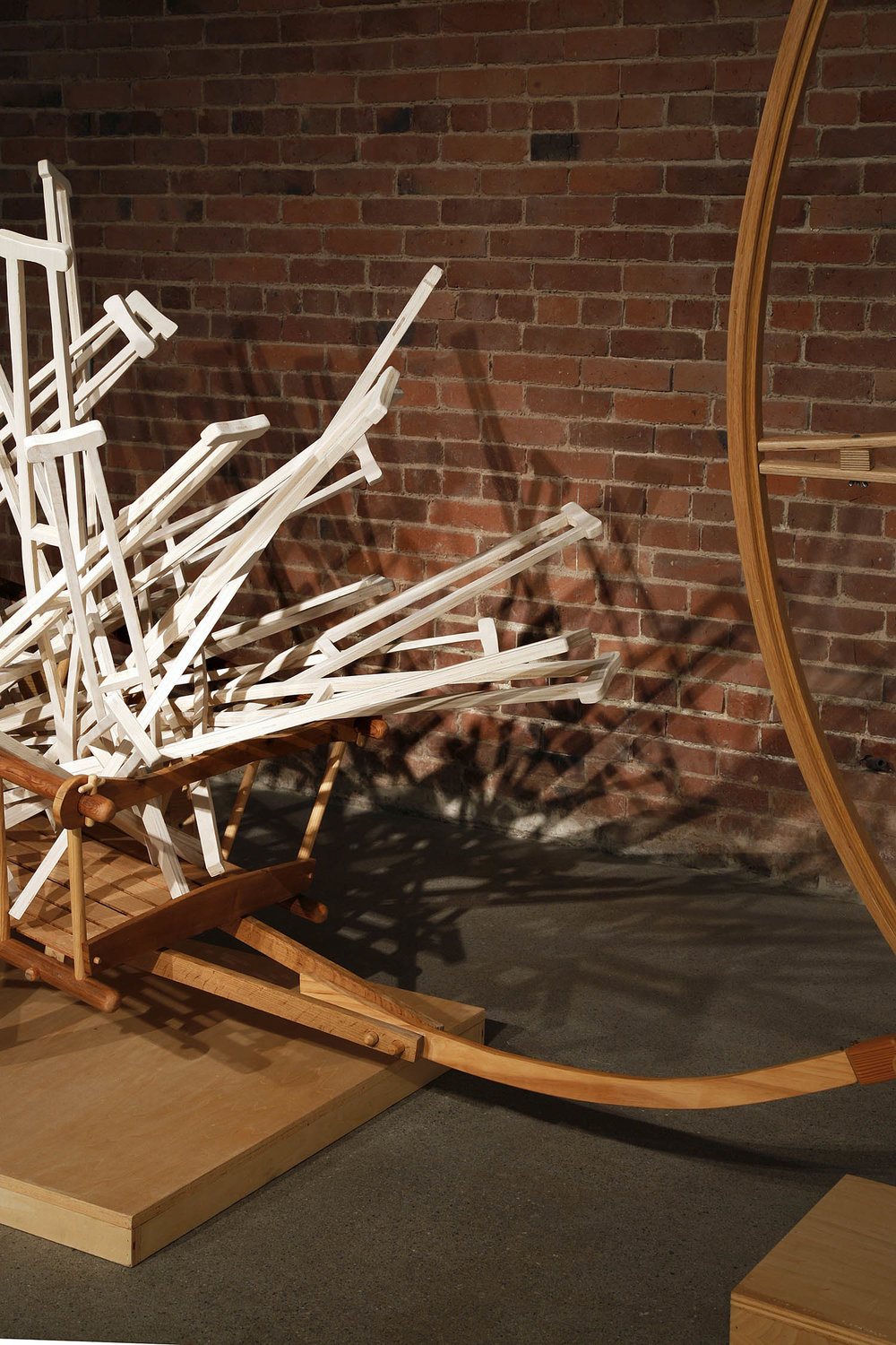 """""""Fade"""" (detail view), 2015, 8' h x 15' w x 3' d, wood, stain; © Tom Gormally"""