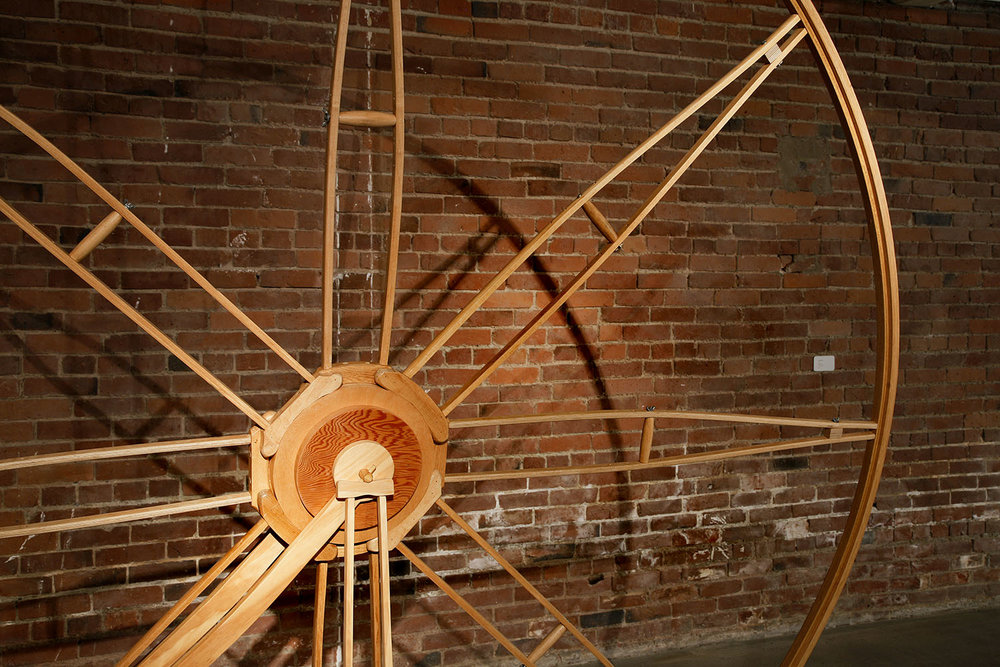 """""""Fade"""", detail view, wood sculpture, handmade 3/4 size crutches and cart built of reclaimed wood; © Tom Gormally"""