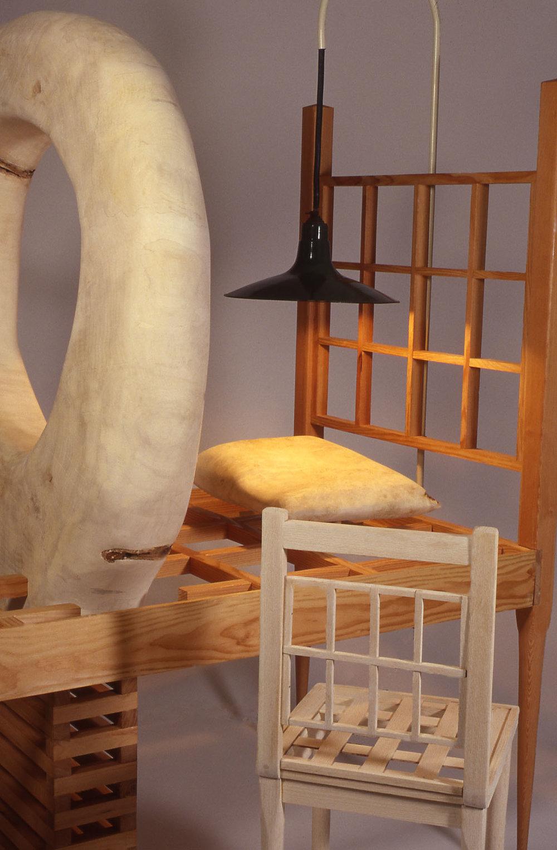 """""""Witness"""" (detail), wood sculpture 7' h x 6' w x 8' d ; Cedar, Poplar, Oak, electric light. Photo: Arthur Aubrey"""