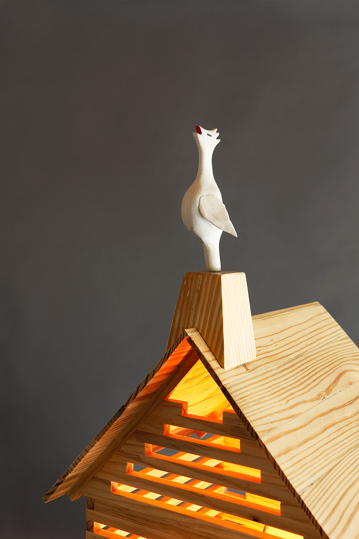 """Fox in a Hen House"", 69"" h x 17"" w x 36"" d; wood, stain, paint, LED lights; © Tom Gormally 2018"