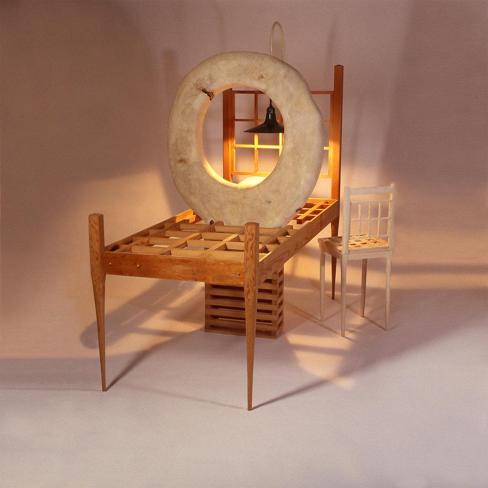 """""""Witness"""", 90"""" h x 66"""" w x 96"""" d; popular, fir, oak, cedar, steel, electric light; © Tom Gormally 2001"""