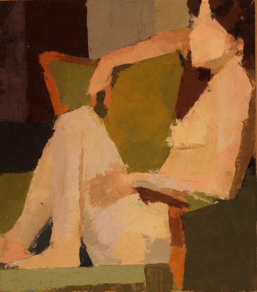 Katie & the Green Chair -- 10 x 9, Oil on Primed Paper on Panel