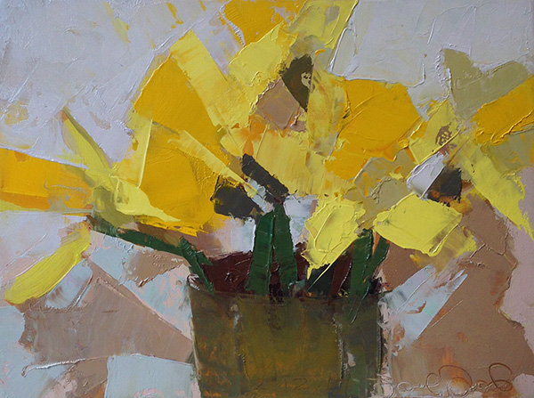Daffodils 3 -- 6 x 8, Oil on Panel