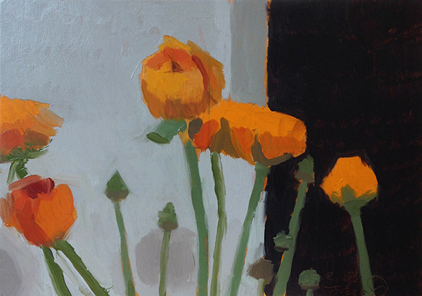 Orange Ranunculus -- 6 x 8, Oil on Panel