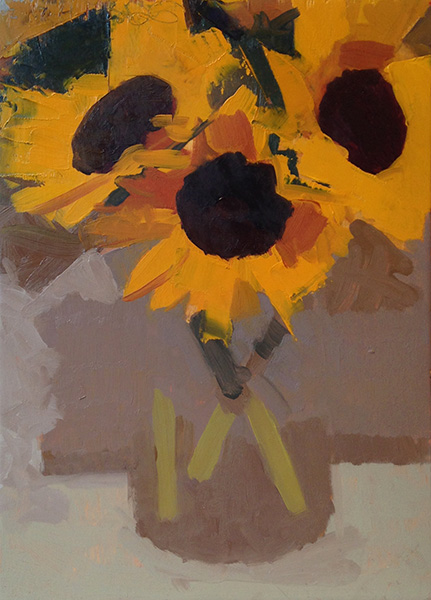 Sunflowers -- 10 x 7, Oil on Panel
