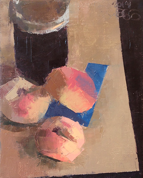 Donut Peaches & Jelly -- 10 x 8, Oil on Linen