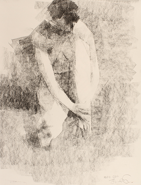 Touching Toes -- 24 x 18, Graphite on Paper