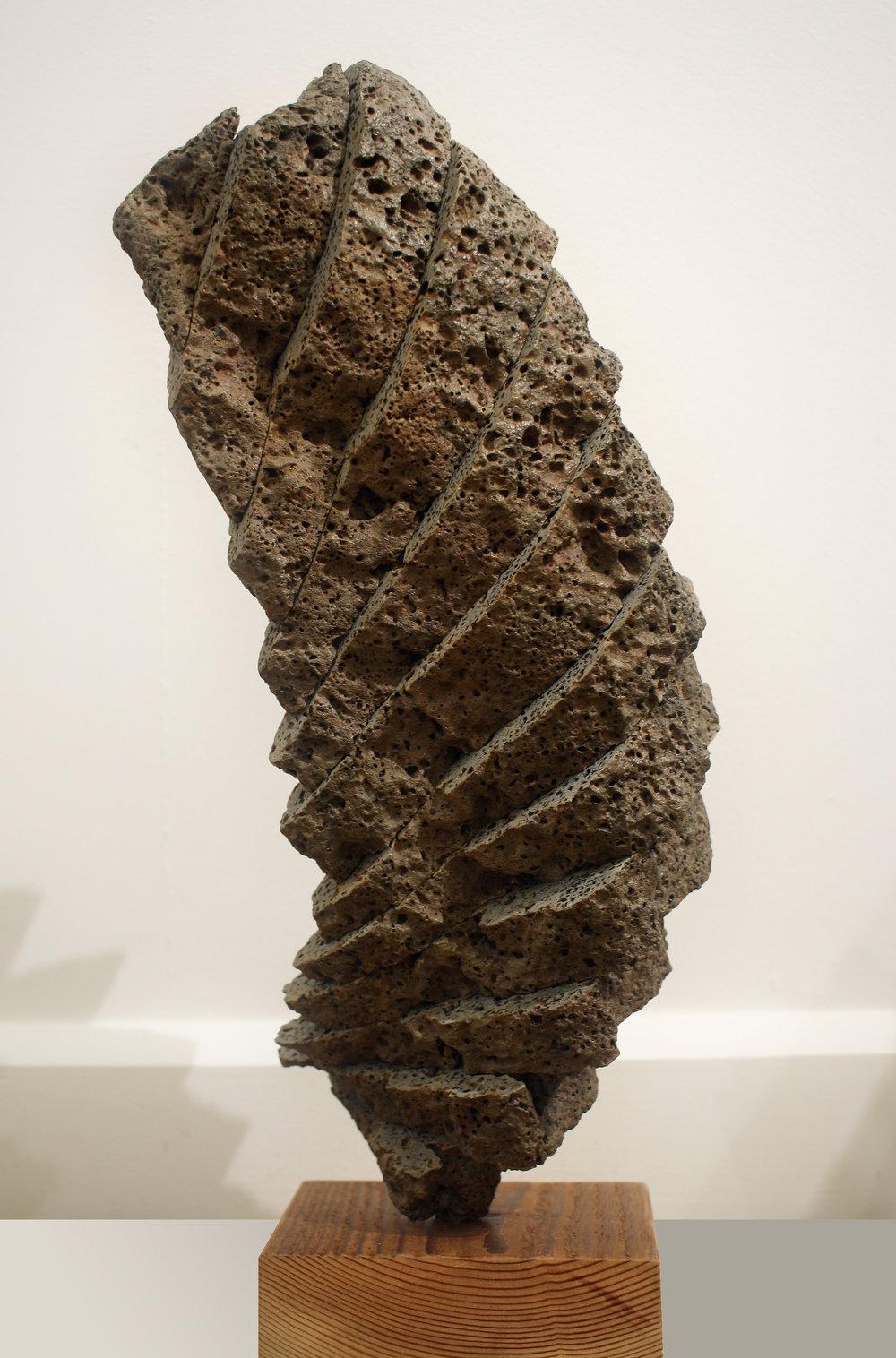 "$1500 - Guardian Figure (Suiseki VII), 6x""8x""22"", Basalt and Wood"