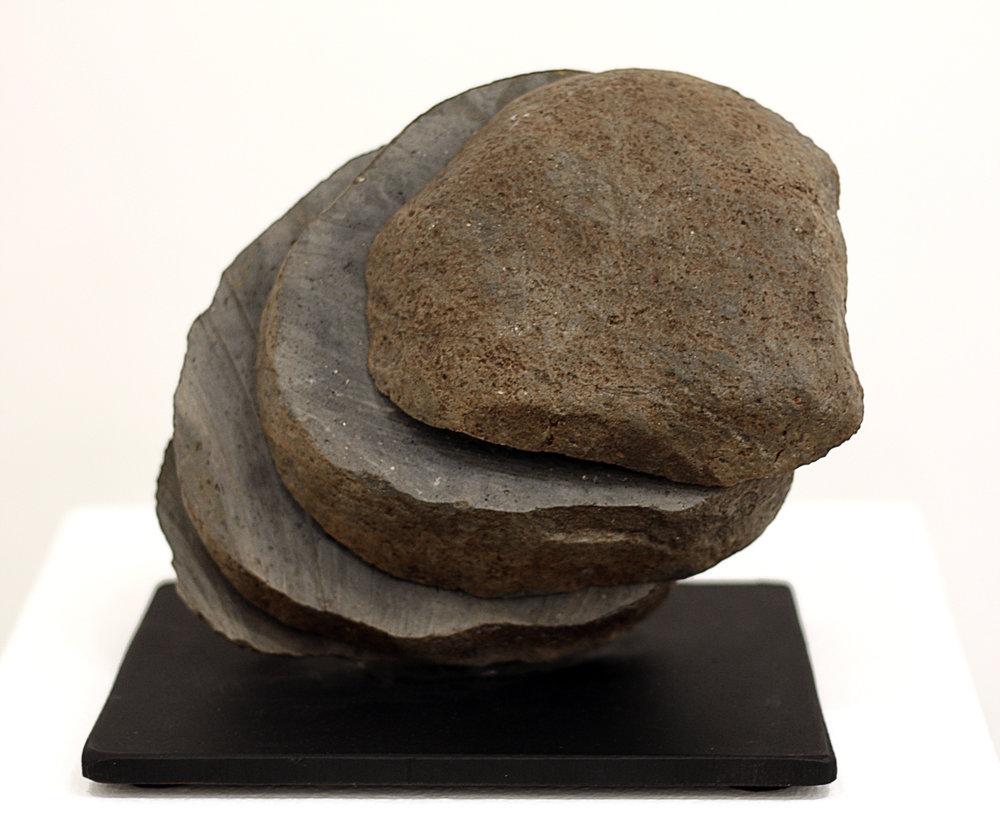 """$900 - Ball of Earth (Suiseki I), 8""""x9""""x7"""", Basalt and Steel"""