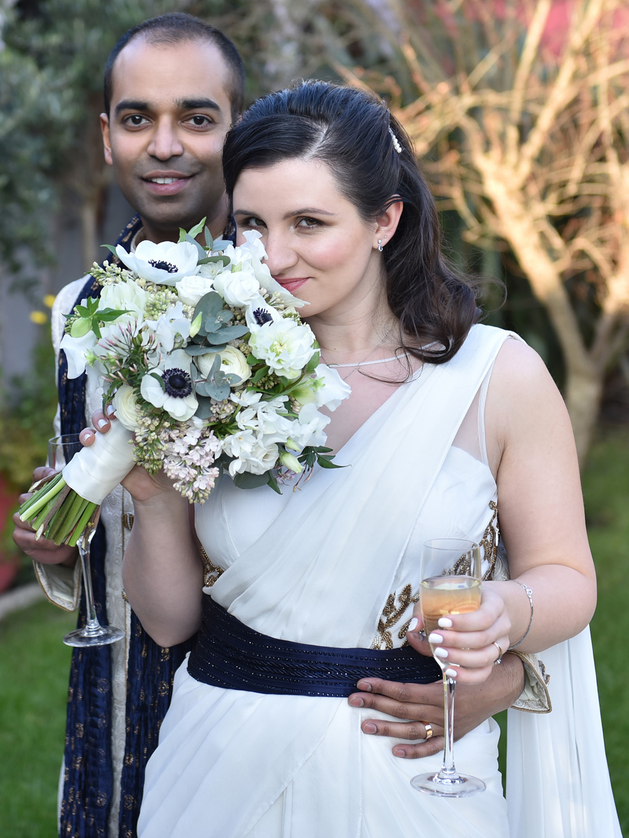 Amrish and Oana, April 2016, Kensington Roof Gardens, London  Photo Credit: Nigel Pacguette