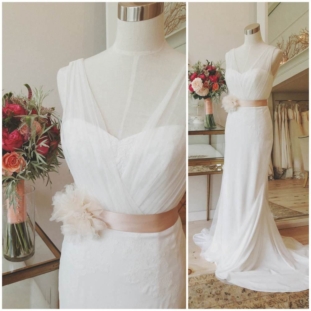 Bijou by Blue Willow, paired here with our gorgeous store-made silk organza flower Antheia sash.