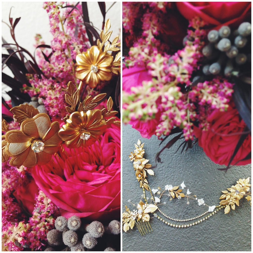Stunning handcrafted hair pieces from Mignonne Handmade! Made in America by hand, these incredible pieces would set off any dress perfectly! (Can you tell we're a little obsessed with gold jewelry?)