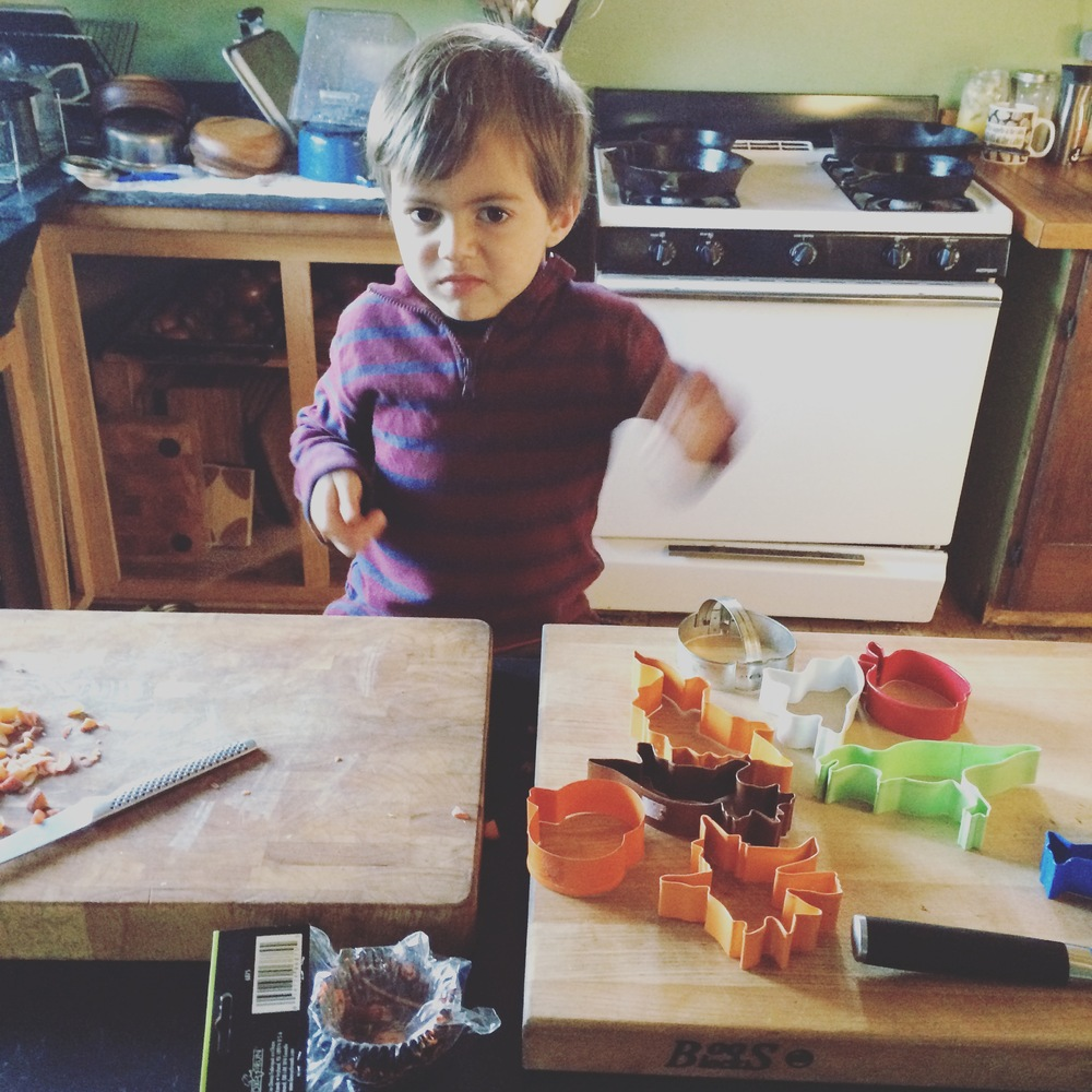 Wilder drumming on the chopping blocks with chopsticks - newly appointed activity for enthusiasm in the kitchen moments.