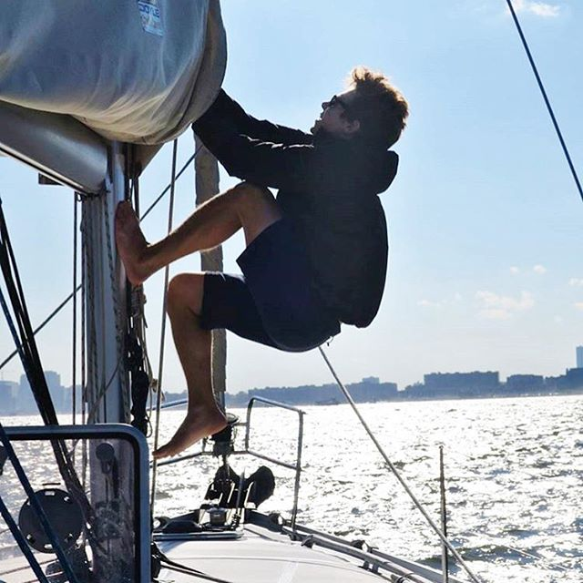 The final hoist of the 2016 Summer Sailing Season. Atlantic Yachting 1st Mate Ben K. Does the honors on a breezy October day. Thanks to everyone who joined AY this summer. Photo via Atlantic Yachting Capt @radiodavej24 #sail #nyc #beneteau #doyle #sailing