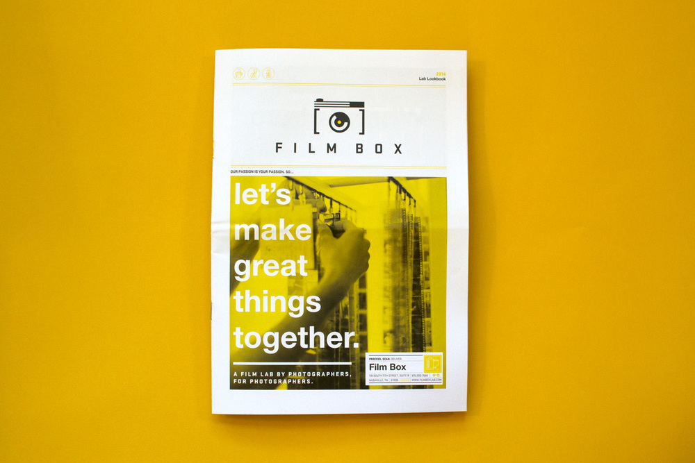 "Editorial graphic design for the cover of the custom newspaper for Film Box, with the headline reading ""Let's make great things together."" The  subhead reads ""A film lab by photographers, for photographers."""