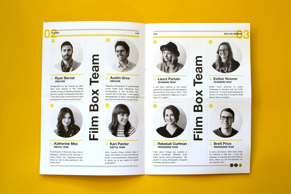 Editorial Design, Film Box, Team Bio Spread