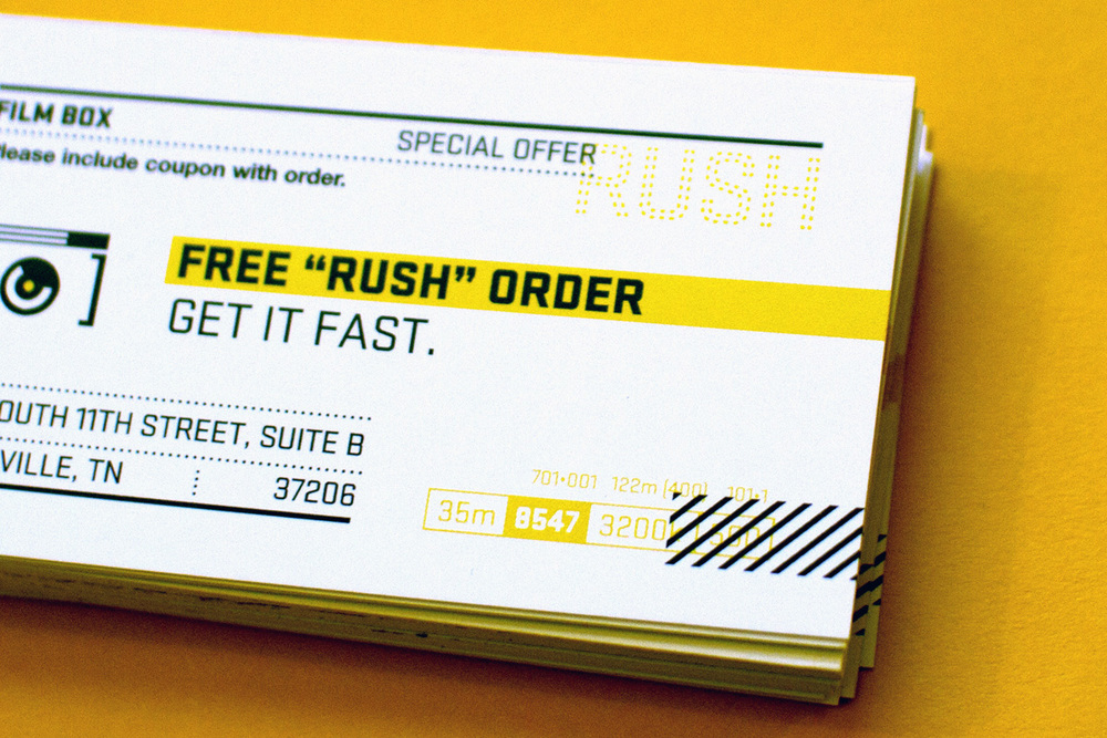 Free Rush Order coupon card design. Elements of the graphics are inspired by kodak and polaroid film canisters.