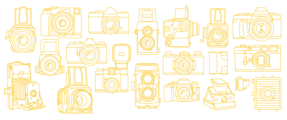Mono width, single line width, line art camera illustrations of old film cameras such as single lens reflex, canisters, polaroids, rolleiflex, hasselblad, pentax, minolta, medium format, leica, lomo diana and more.