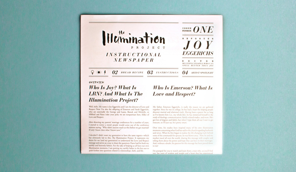 The Illumination Project box contains an instructional newspaper that serves as the brochure.