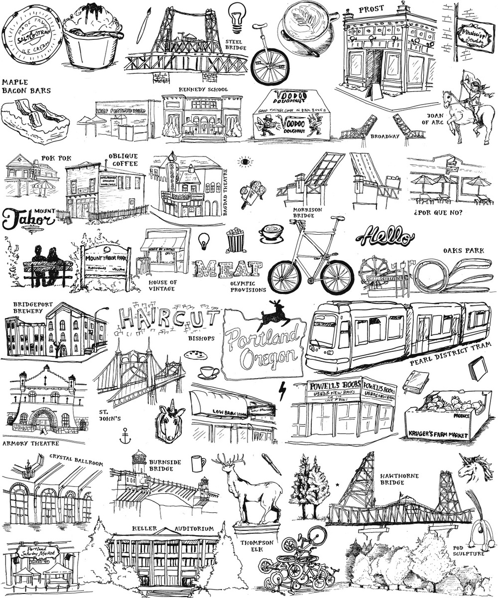 Hand drawn pen and ink illustrations of portland oregon places, things, and culture for The Illumination Project by freelance graphic designer Russell Shaw shows Salt and Straw ice cream, steel bridge, coffee, prost, mississippi studios, por que no, morrison bridge, joan of arc statue, voodoo donuts, kennedy school, maple bacon bars, pok pok, oblique coffee, bagdad theatre, mount tabor, olympic provisions, house of vintage, bishops, bridgeport brewery, pearl district tram, powell's books, kruger's farm market, low brow lounge, st. john's bridge, armory theatre, crystal ballroom, burnside bridge, hawthorne bridge, thompson elk,  keller auditorium, pod sculpture.