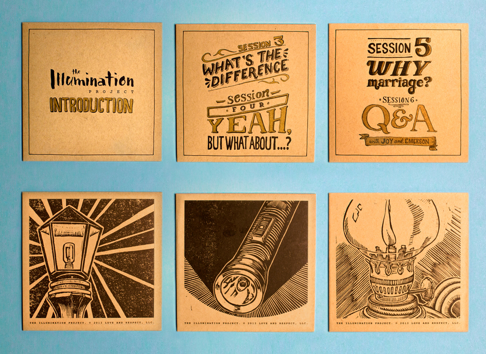 A grid of all of the different dvd cases and packaging design for the discs of the Illumination Project video series, each case has its own woodcut illustration stamped on the back, and the front features hand drawn pen and ink illustrations in black and gold ink on kraft paper.