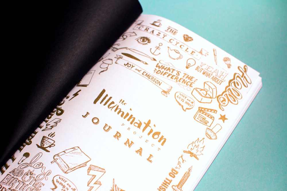 The Illumination project journal title page with gold metallic hand lettering and illustrations across the page.