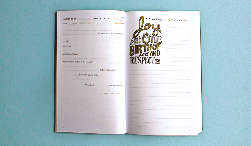 Chapter two section header of the notebook for the Illumination project features gold and black pen and ink hand drawn lettering and illustration work titling Joy and the birth of love and respect now.
