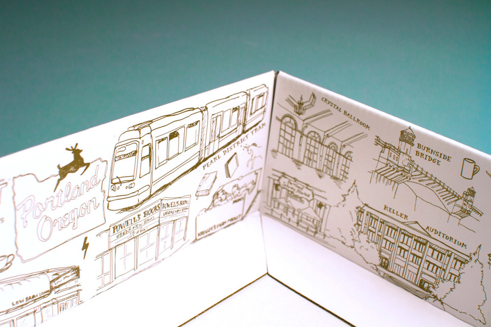 Illustrations of places and things from Portland on the four inside edges of the box feature the Oregon sign, the tram, the bridges, keller auditorium, coffee, powell's books and the crystal ballroom.