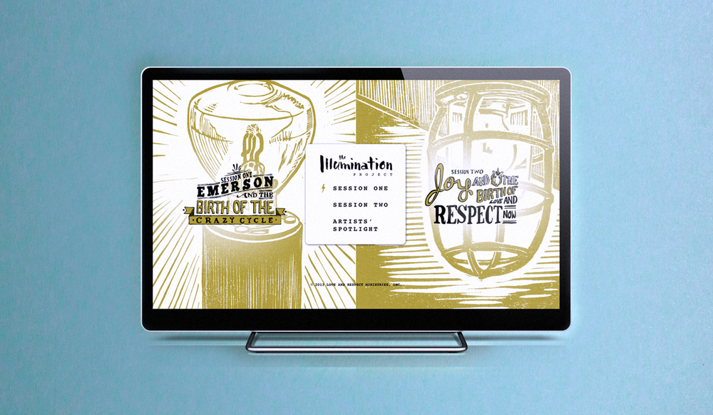 The menu design for each dvd in The Illumination Project's video series features the illustrations from the case over the hand lettering for each session.
