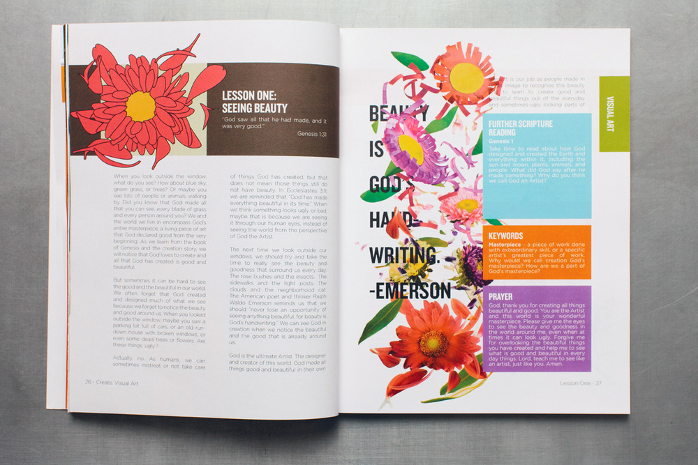 Paper craft papercut handmade flowers and petals falling down the page around beauty is god's handwriting emerson quote for the opening chapter header and editorial spread graphic design of the arts curriculum book for kids.