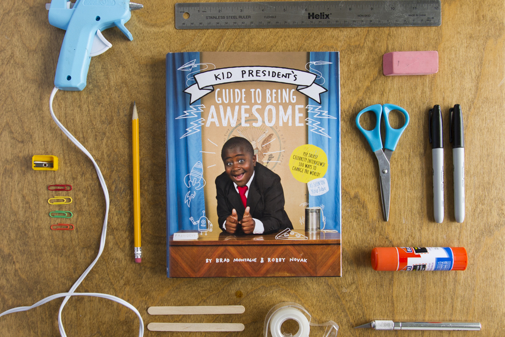 Kid President robby novak and brad montague book guide to being awesome cover design and illustration by Russell Shaw