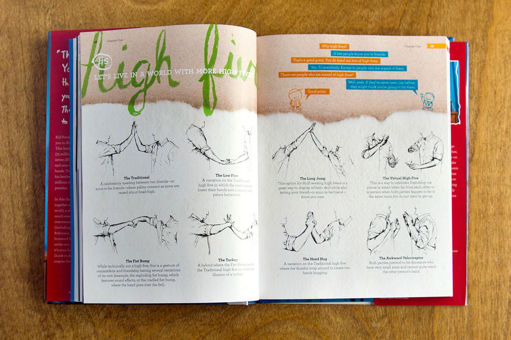 """An illustrated guide to high-fives,"" features an encyclopedia-style hand drawn infographic about how to give high fives, illustrated by russell shaw for kid president book guide to being awesome"