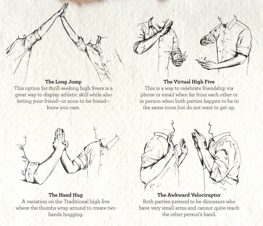 """The long jump,"" ""the virtual high five,"" ""the hand hug,"" and ""the awkward velociraptor"" hand drawn illustrated guide to high fives kid president book"