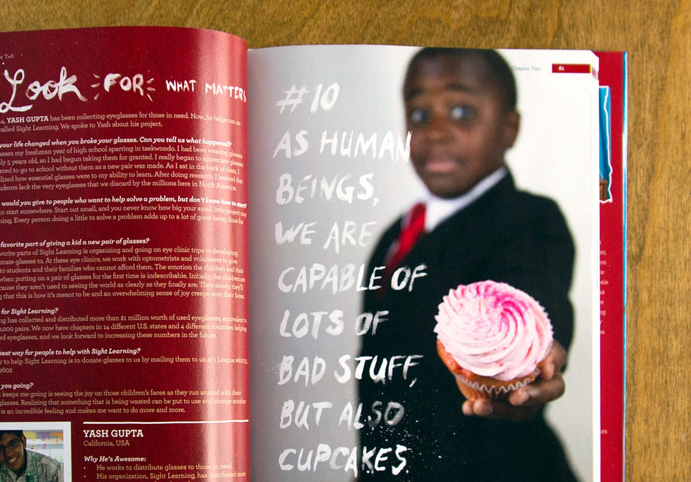 #10 As human beings, we are capable of lots of bad stuff, but also cupcakes. Brush hand lettering cupcake photo kid president book guide to being awesome illustrated and designed by Russell Shaw