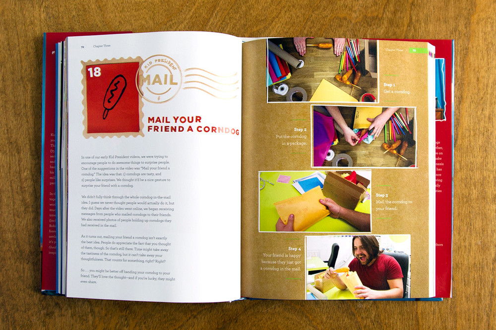 #18 Kid President Mail, Mail your friend a corndog, cardboard and paper cut by hand illustration and design for kid president editorial book.
