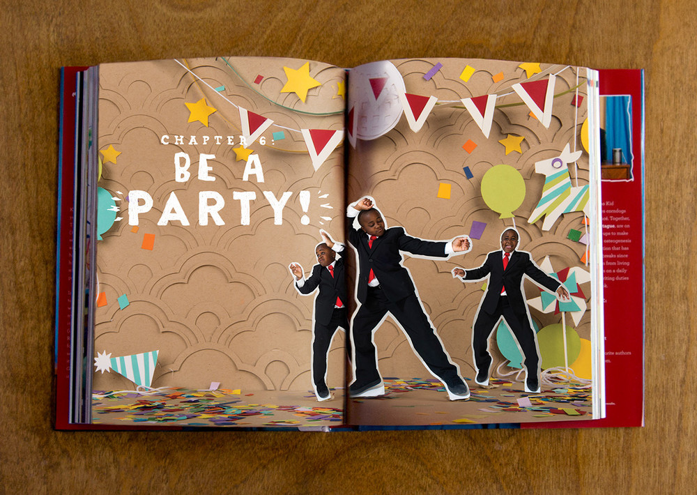 Kid President chapter six be a party chapter header and section divider made out of paper cut and craft by hand pinata disco ball dance hats confetti and balloons for book