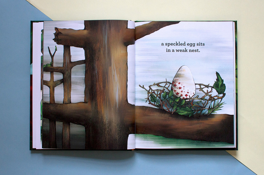 Full color hand drawn illustrated children's book artwork of a speckled egg in a weak and poorly made nest.