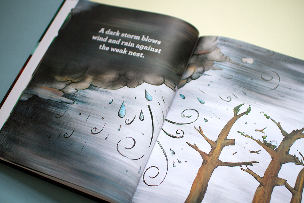 Illustrated full color spread of a dark storm cloud blowing wind and rain against the weak trees.