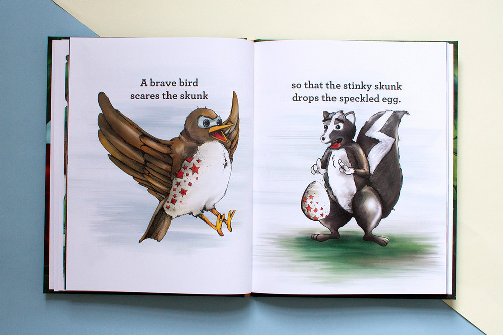 Artwork for children's book shows a speckled brave bird scaring away a stinky skunk who was holding a speckled egg.
