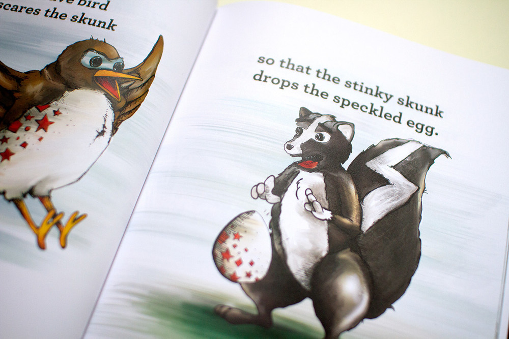Detail of the stinky skunk dropping the speckled egg in Brilliant, the children's book about adoption.