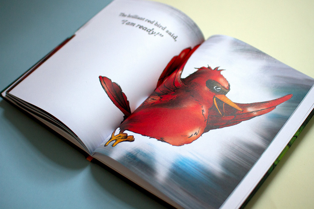The brilliant red bird flies away in this full color hand drawn pen and ink colorful children's book artwork spread.