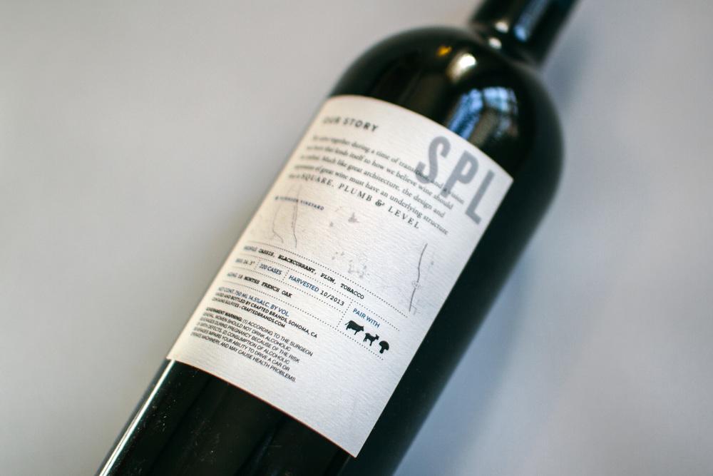 square plumb and level wine back label design