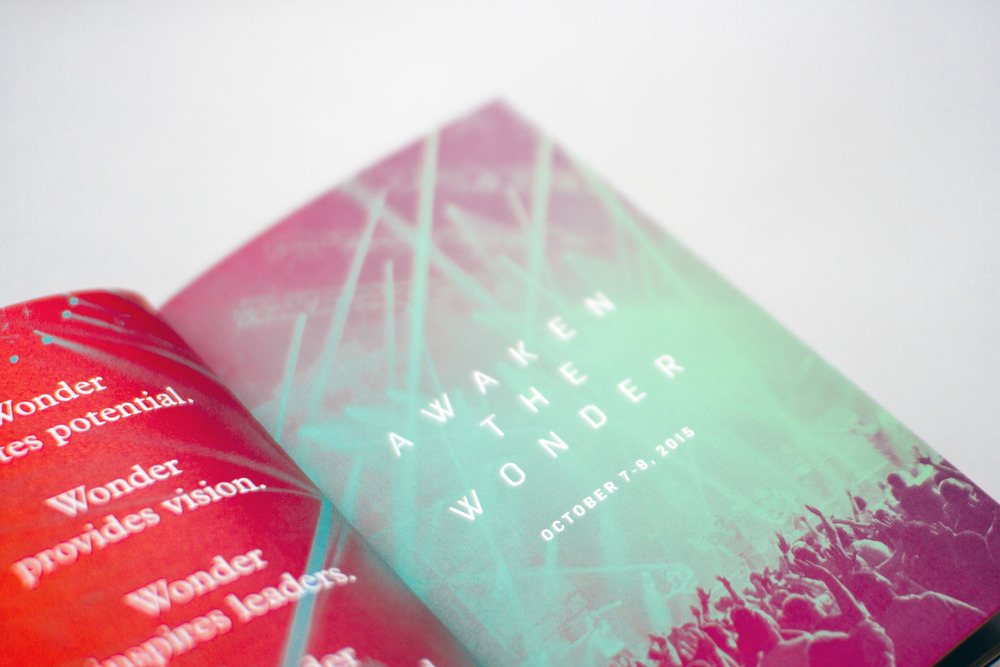 Editorial and layout design for custom minibook spread revealing the theme of the conference in Atlanta, Awaken the Wonder.