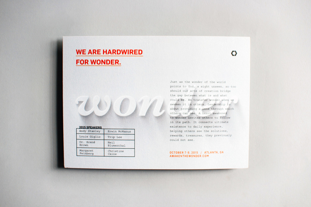 We are hardwired for wonder postcard graphic design for Catalyst Conference Awaken the Wonder branding.