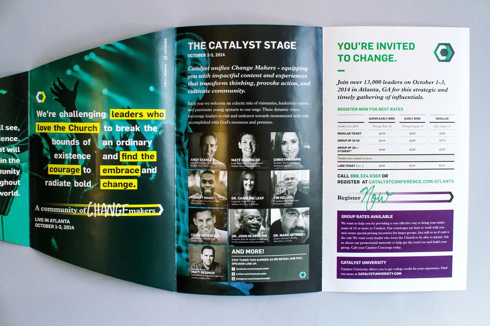 Design of the event brochure reveals the speaker lineup and pricing and registration information on the inside of the last panels.